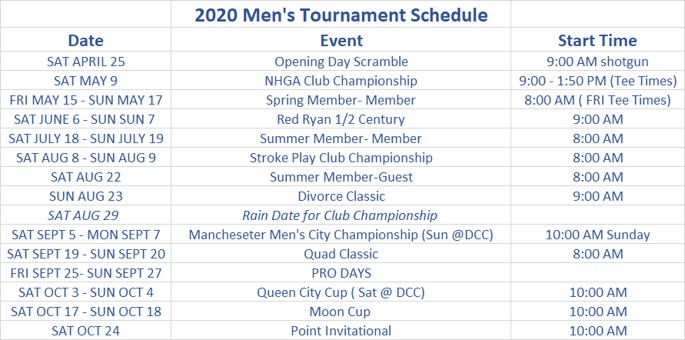 2020 Mens Tournament Schedule