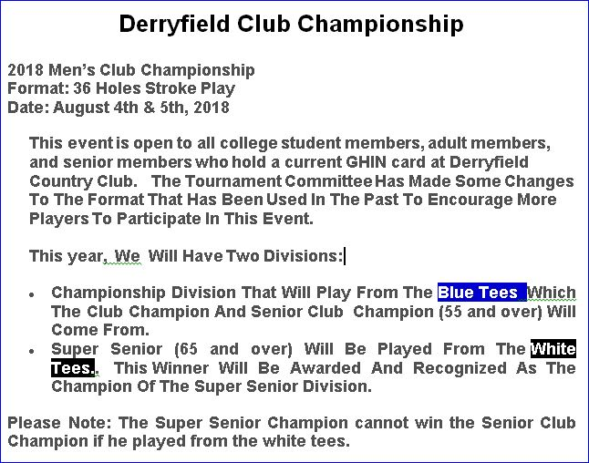 Derryfield Club Champion